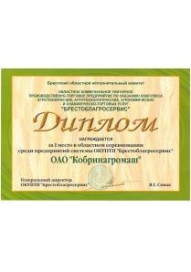 Диплом за первое место в областных соревнованиях ОКУПТП
