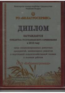 Диплом победителя республиканского соревнования 2010